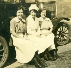 Nurses on the Running Board of Old Car Antique Photo by veraviola, $6.00