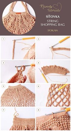 String Bag / String Shopping Bag Tutorial – – The Best Ideas Crochet Throw Pattern, Bag Crochet, Crochet Market Bag, Crochet Diy, Crochet Patterns, Net Bag, String Bag, Tote Pattern, Knitted Bags