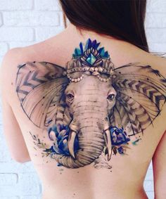 Amazing Full Back Elephant Tattoo Design for Women