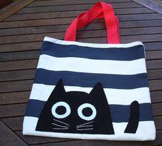 Handmade fabric tote bag purseblack cat on blue white by Apopsis, $40.00