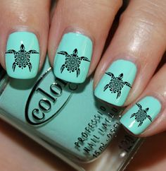 Tribal Turtles Nail Decals 36 Ct. by ZLineNails on Etsy, $4.85