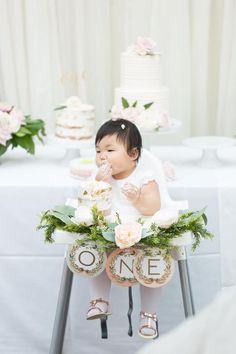 Highchair from a Floral First Birthday Party on Kara's Party Ideas | KarasPartyIdeas.com (11)