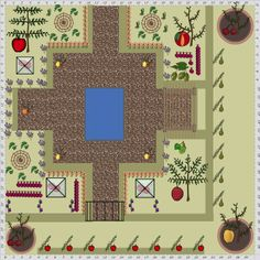 Garden Plan - 2014: A mediterranean style courtyard garden showing some of the wonderful new range of espaliers, cordons and fruit trees just uploaded to the Garden Planner from growveg.com www.inagua.es #piscinas #Marbella #pools #water filtering #watering