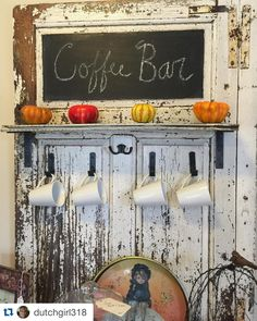 Old door repurposed into this one of a kind coffee bar.