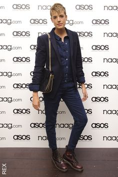 Agyness Deyn | Style Files | ELLE UK Tomboy Fashion, Unisex Fashion, Star Fashion, Fashion Pants, Fashion Outfits, Fashion Trends, Dr. Martens, Agyness Deyn, Street Style Trends