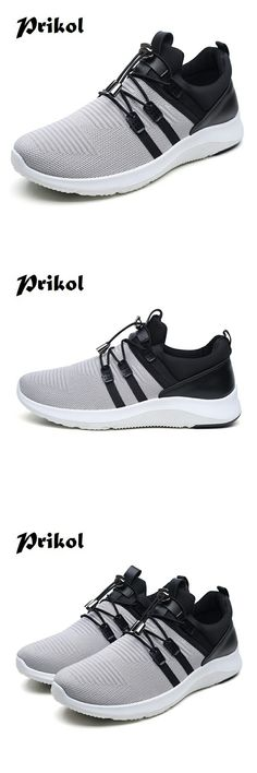 US $20.89 <Click to buy> Prikol Luxury Brand Cool Outdoor Walking Soft Mesh Men Sport Shoes Summer Sneakers Athletic Leather Tennis Shoes Calcado