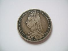 1890 Great Britain British Sterling Silver Shilling by lizystuff