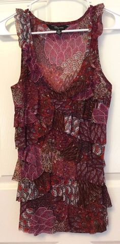 Riley James Sleeveless Top Silky Boho Red Purple Floral Ruffled Front Size M #RileyJames #Blouse #DressyorCasual