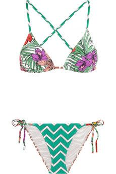 Clashing prints exude contemporary cool so get noticed on vacation in Charlie by Matthew Zink's triangle bikini.
