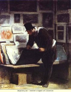Giclee Print: The Print Lover Art Print by Honore Daumier by Honore Daumier : Pop Art, Jean Francois Millet, Honore Daumier, Art Français, Art Database, Impressionism Art, Wood Engraving, Satire, Les Oeuvres