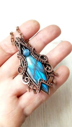 Handmade wire wrapping blue labradorite pendant with blue agate bead, copper heady jewelry, - To see if go to gemseekerstudio. Wire Pendant, Wire Wrapped Pendant, Wire Wrapped Jewelry, Copper Jewelry, Modern Jewelry, Vintage Jewelry, Wire Jewelry Designs, Jewelry Accessories, Diy Jewelry Inspiration