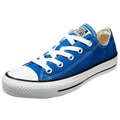 Converse CHUCK TAYLOR ALL STAR OX Trainers larkspur ($65) ❤ liked on Polyvore featuring shoes, sneakers, converse, blue, 18. converse., round toe sneakers, converse shoes, converse trainers, blue sneakers and decorating shoes