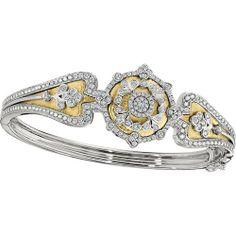 18K Gold Two Tone Diamond Bangle from Goldsmith Jewelers.