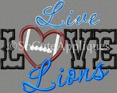 Embroidery design 6x10 Lions football football by SoCuteAppliques