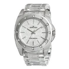 Anne Klein Women's 109179PVCL Swarovski Crystal Accented Silver-Tone Clear Plastic Watch (Watch) | click image for more information or to buy it