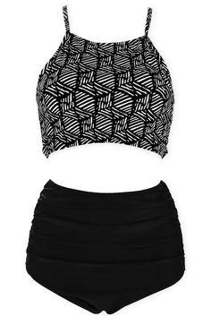 80e3af3e9d #vintage #swimwear Black& White Pattern Print High Neck #highwaist  #Bikini Set
