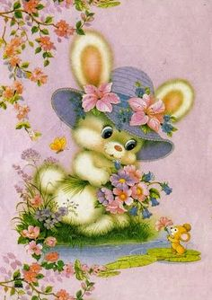 vintage bunny in sunhat Cute Animal Illustration, Cute Animal Drawings, Cute Drawings, Easter Pictures, Cute Pictures, Decoupage Paper, Vintage Cartoon, Vintage Easter, Cute Bunny
