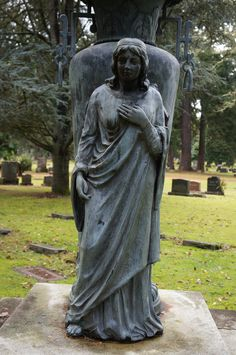 Marker- Statue Grieving with Hand on Heart at the Old Tacoma Cemetery, Tacoma, WA. http://www.thefuneralsource.org/cemwa.html