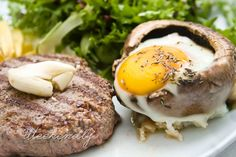 Grilled hamburger with fried egg in Portobelo mushrooms