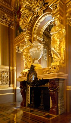Spectacular Fireplace, Opera Garnier, Paris, France - Decoration for House Beautiful Architecture, Architecture Details, Classical Architecture, Cathedral Architecture, Historic Architecture, Versailles, Paris Opera House, Belle Villa, Second Empire