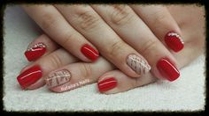 #Shellac #Square_Nails #Red #Vintage_Nail_Art_Stamps