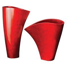 Red Asymmetrical Fan Vase | www.hayneedle.com