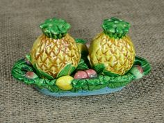Vintage Ceramic Pineapple Boat 3pc Salt & Pepper Shaker Set