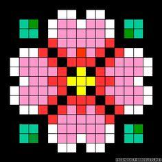Diamond flower coaster perler bead pattern