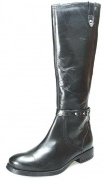 Red Tape L09049 Black Zip Knee High Boots Leather Ladies Long