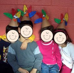 Turkey hats!  LAST YEAR WE WENT TO THE TG FEAST AS INDIANS.... THIS YEAR, I SAY WE GO AS TURKEYS!