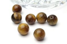 Round Polished Genuine Tigers Eye Beads 10mm 5pcs by BeadtotheMax on Etsy