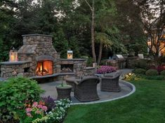 Awesome Outdoor Fireplace Ideas for Your Patio. Patio or backyard area, who does not want it? we can use it as a sitting room, pool, or garden. There are also other alternatives, use it as outdoor f. Outside Fireplace, Backyard Fireplace, Backyard Patio, Backyard Landscaping, Fireplace Stone, Sunken Patio, Stone Backyard, Hearth Stone, Outdoor Kitchen Patio