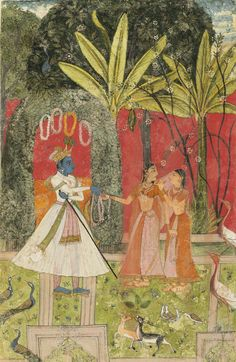 Blue Nobleman offers a garland to a shy young woman; Bundi or Kotah, Rajasthan, India ca. 1680-1770