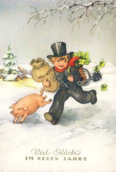 Neujahr - Schornsteinfeger und Glücksschwein, 1958 | eBay