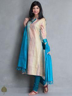 Multi Color Block Printed Tussar Kurta by Jaypore Ethnic Fashion, Indian Fashion, Girl Fashion, Fashion Dresses, Salwar Pattern, Kurta Patterns, Indian Attire, Indian Outfits, Silk Kurtas