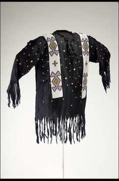 """""""Dream Shirt"""" Representing Stars in the Night Sky Plains Cree The National Museum of the American Indian Native American Regalia, Native American Clothing, Native American Artifacts, Native American Beading, Native American Fashion, Male Clothing, Indian Beadwork, Native Beadwork, Native Indian"""