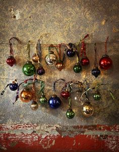 Vintage Christmas ornaments are too good to hide, put them on display. A little Christmas every day. Merry Little Christmas, Noel Christmas, Vintage Christmas Ornaments, Christmas Baubles, Winter Christmas, Christmas Crafts, Christmas Decorations, Glass Ornaments, Hanging Ornaments