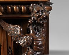 BELLANGER, cabinetmaker - Neo-Renaissance style display cabinet made out of carved walnut with chimeras decor - Bookcases, desks, Vitrines Eclectic Furniture, Palace Of Versailles, Cabinet Making, Renaissance Fashion, Chimera, World's Fair, Bookcases, Desks, Making Out