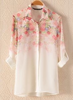 Print button cardigan chiffon shirt