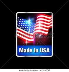 Made in USA Sticker. American Product Label with Flag. #usa #Madeinusa