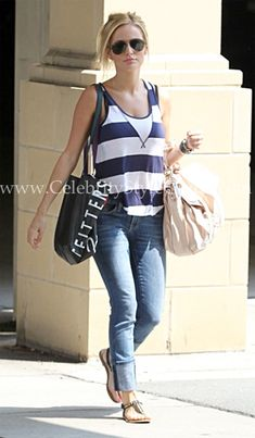 Emily Maynard is casual in the Kensie 'Bold' Stripe Tank in North Carolina Days Before the 'Bachelorette' Finale Charlotte, North Carolina on July 18, 2012