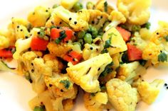 indian cauliflower sabji with peas and carrots