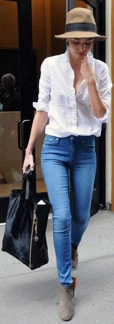 classic white shirt and jeans