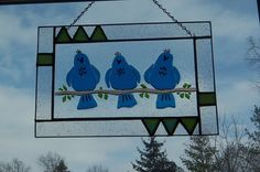 StaiNeD GlAsS PaNeL FeATuRiNg  BluE BiRdS of HaPpiNesS OoaK
