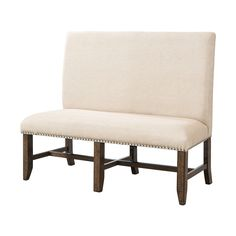 Shop Picket House Furnishings  DFK100BN Francis Upholstered High-Back Bench at The Mine. Browse our dining benches, all with free shipping and best price guaranteed.