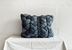 Dark denim plait pillowcase  dyed decorative handmade by taftyli, zł300.00