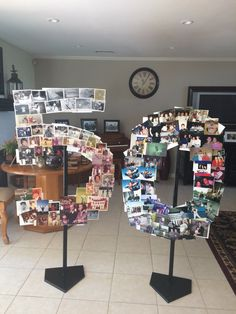 50th birthday photo board and stand. Cut numbers out of cardboard and then staple to stand fill front and back with photos!  Gives more space!