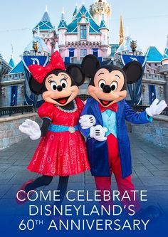 Come celebrate Disneyland's 60th anniversary with Mickey and Minnie this summer and experience all the magic the Disneyland Resort Diamond Celebration has to offer! Don't wait! Book your vacation now and enjoy everything from nighttime parades to special activities to fireworks displays and so much more!