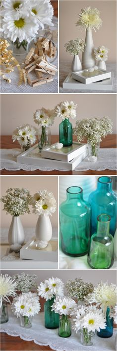 ikea centerpieces Turquoise Centerpieces, Simple Centerpieces, Flower Centerpieces, Wedding Centerpieces, Centerpiece Ideas, Flower Vases, Simple Flowers, White Flowers, Wedding Decorations On A Budget