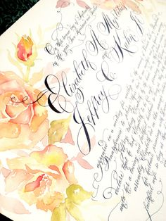 www.edanae.etsy.com Vibrant hand painted roses complement the black calligraphy on this Quaker Marriage Certificate.